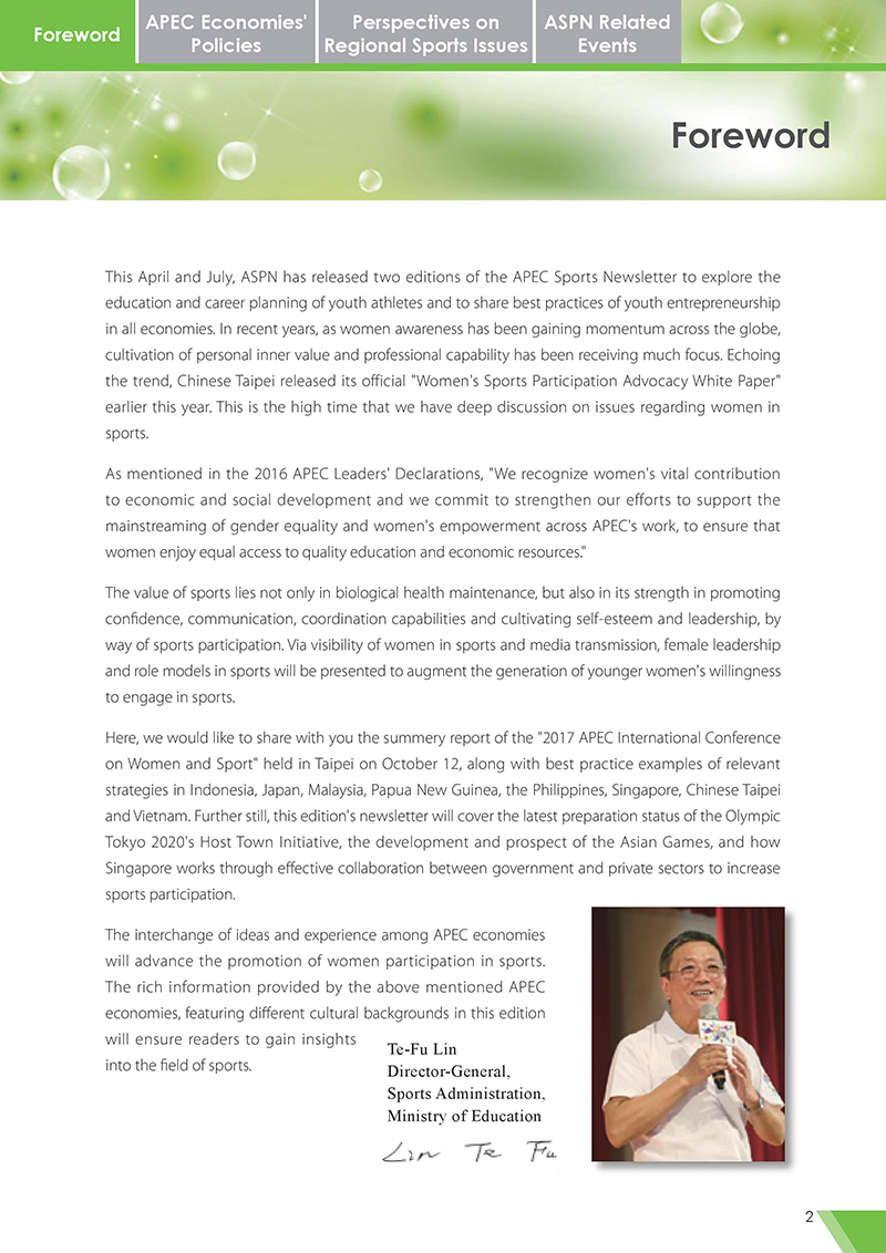 APEC Sports Newsletter Issue 3 October 2017 Foreward