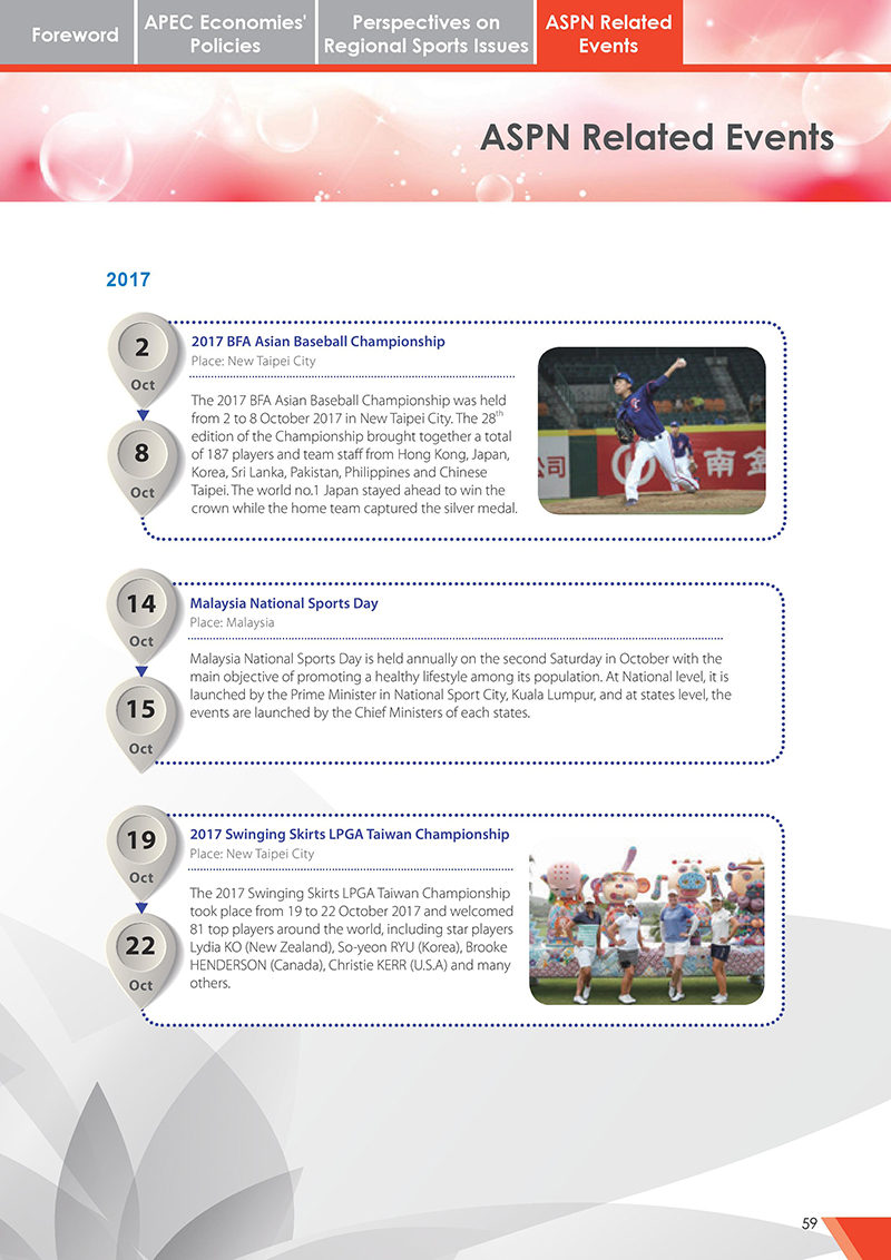 APEC Sports Newsletter Issue 3 October 2017 P.59
