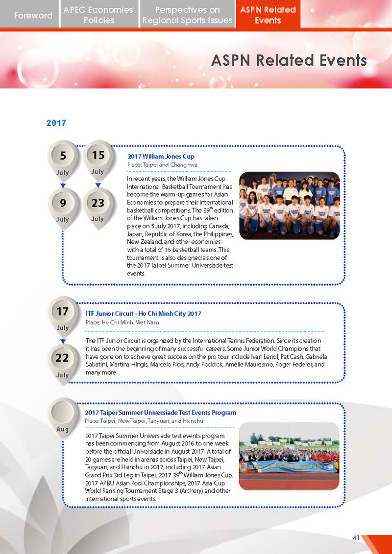 APEC Sports Newsletter Issue 2 July 2017 P.41
