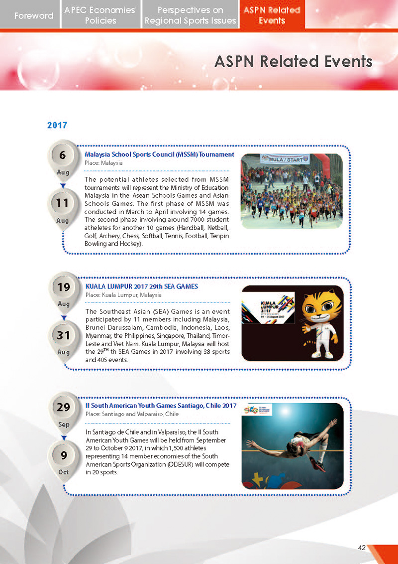APEC Sports Newsletter Issue 2 July 2017 P.42