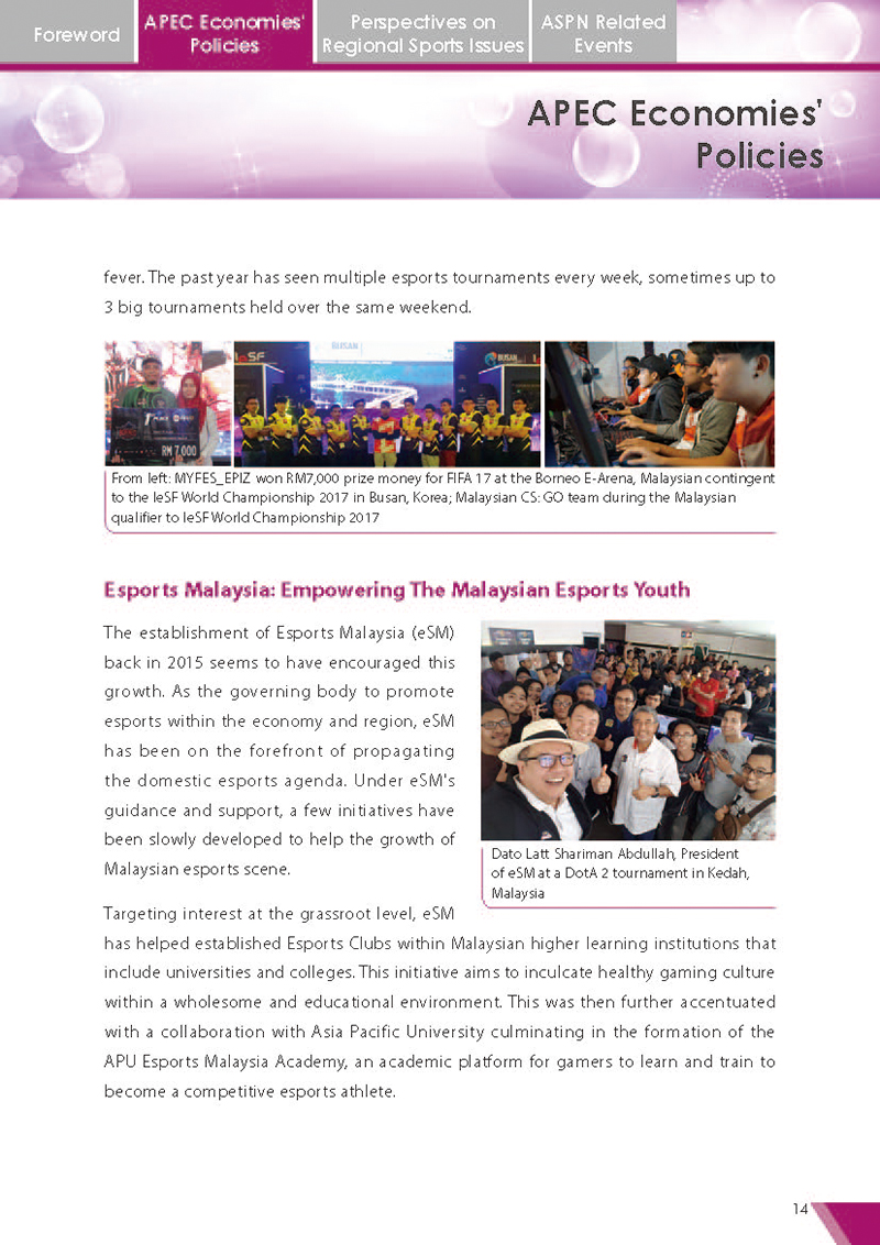APEC Sports Newsletter Issue 4 March 2018 P.14