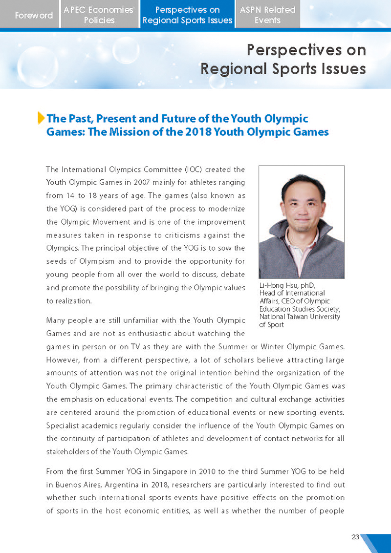 APEC Sports Newsletter Issue 5 July 2018 P.23