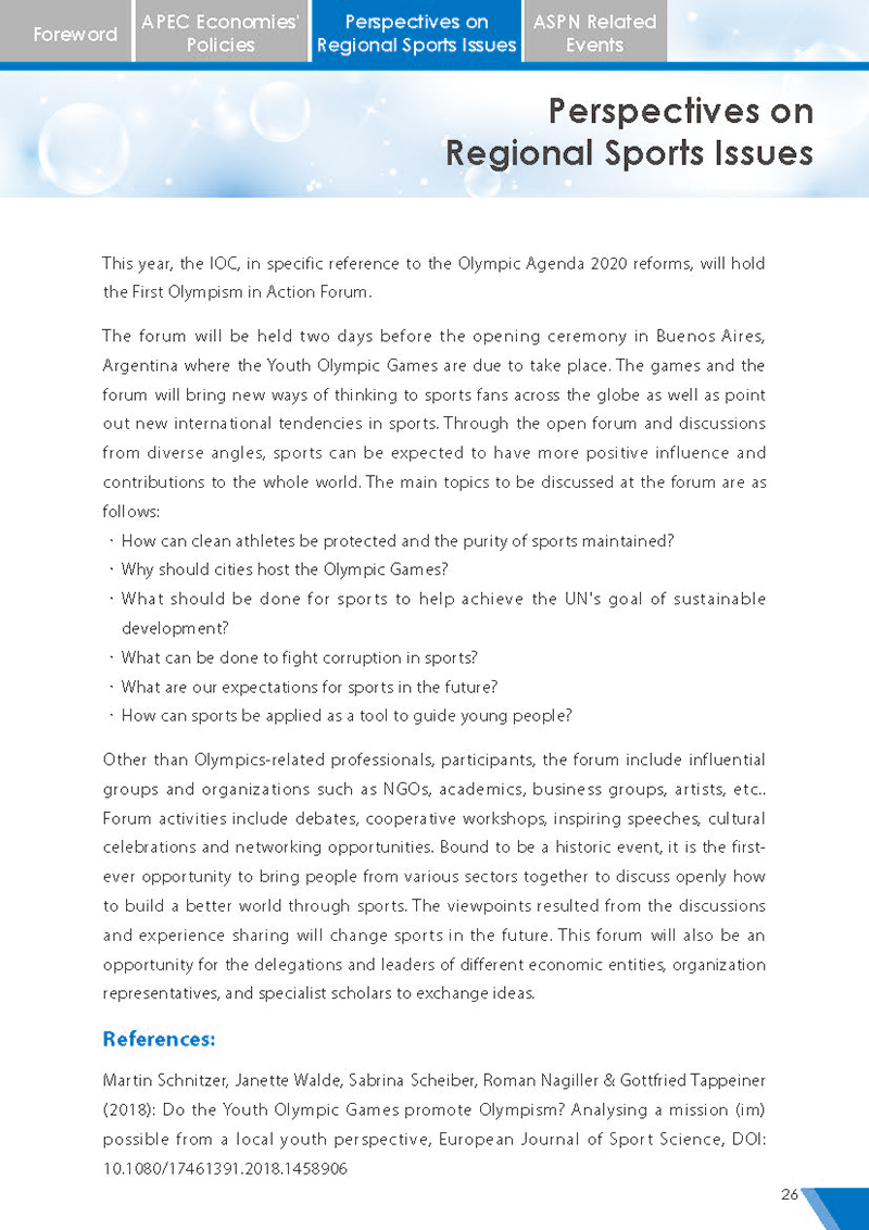 APEC Sports Newsletter Issue 5 July 2018 P.26
