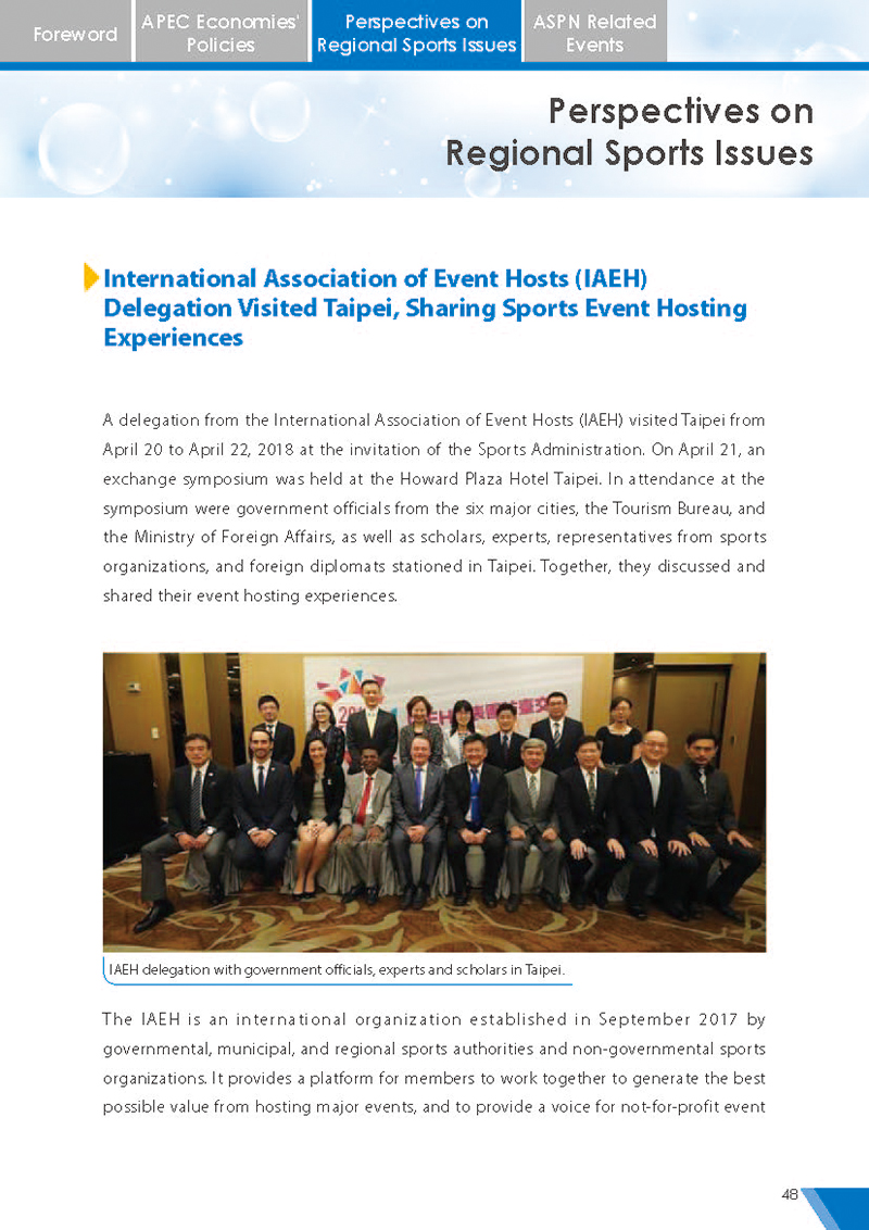 APEC Sports Newsletter Issue 5 July 2018 P.48