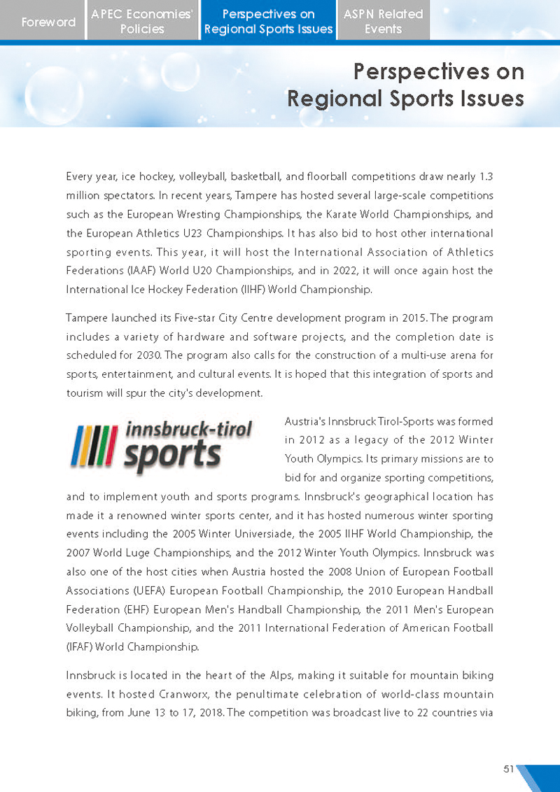 APEC Sports Newsletter Issue 5 July 2018 P.51