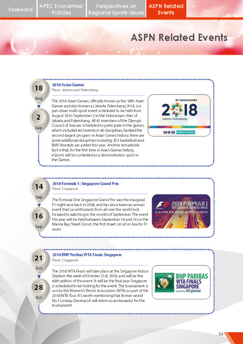 APEC Sports Newsletter Issue 5 July 2018 P.54