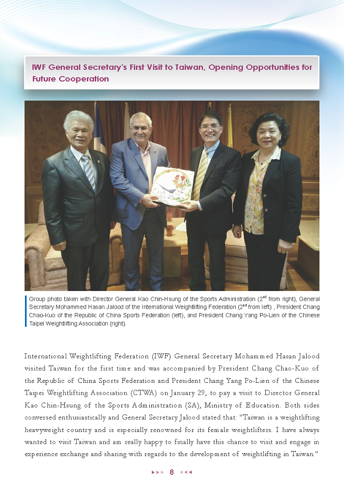 Sports Administration Newsletter #74 January 2019 P.8